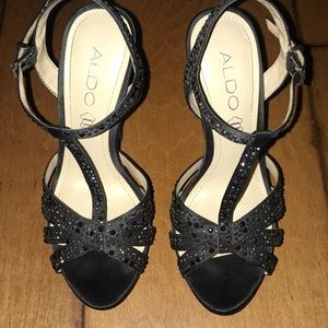 Aldo's - Black strapped jeweled heels